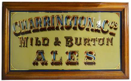 A coloured glass advertising panel, 'Charringtons Mild