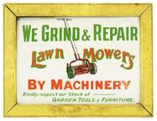A wooden framed enamel lawn mower sign, We Grind &