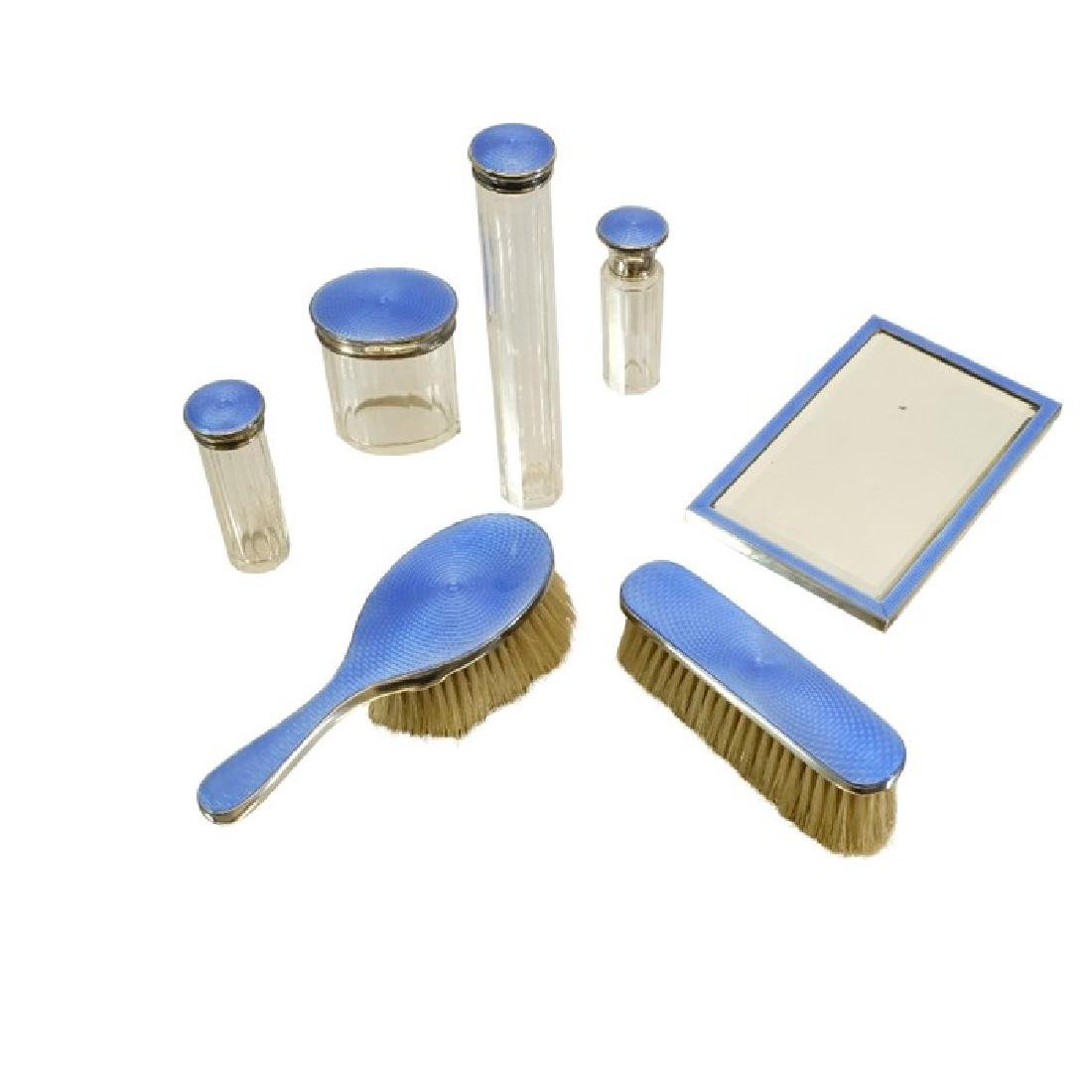 An Art Deco silver and enamelled dressing table set, AG