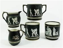 A collection of Pratt ware Neoclassical pottery vessels