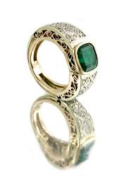 An Art Deco emerald and diamond ring, the square cut