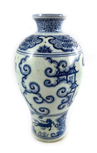 A Chinese blue and white Ming style Meiping vase