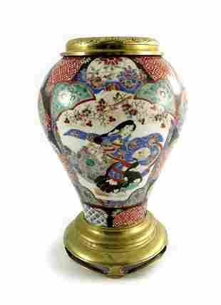 A Japanese porcelain lamp base polychrome enamelled
