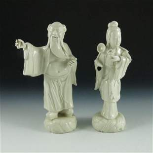 Two Chinese blanc de Chine figures elder and a woman