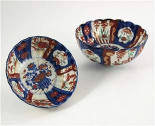 Two Japanee Imari bowls Meiji lobed hemispherical