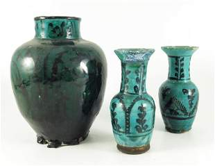 Three Persian ceramic vases green glazed and painted