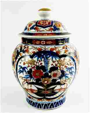 A Japanese Imari temple jar and cover Meiji inverse