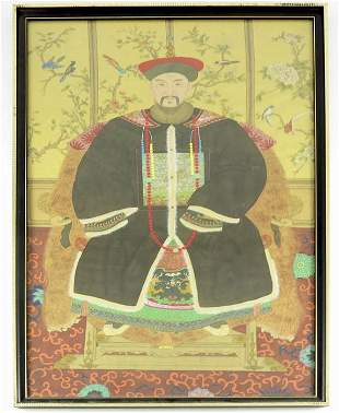 A pair of Chinese ancestor portraits Qing painted on