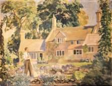 British School 20th century Architectural Study oil
