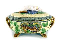 A Minton majolica game tureen 1864 relief moulded