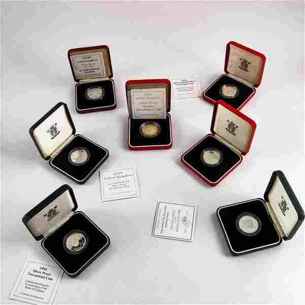 Royal Mint coins, including three silver piedfort proof