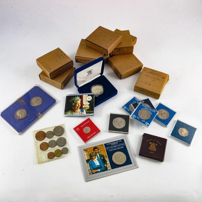 Royal Mint coins, including six silver proof five pound
