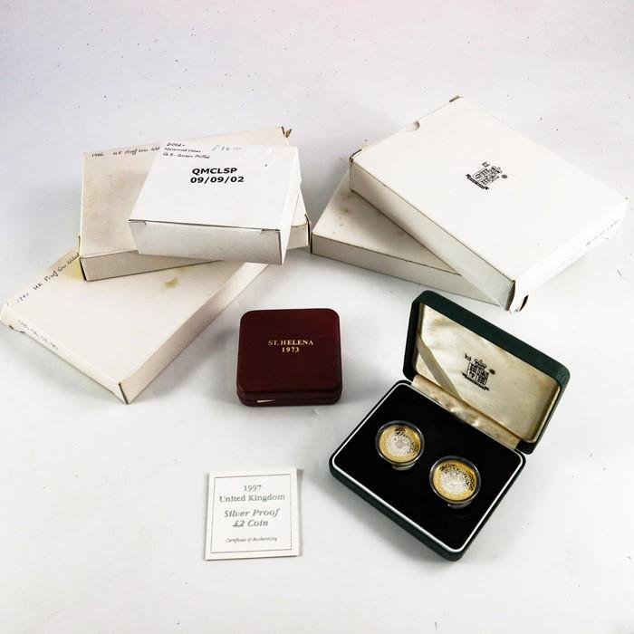 Royal Mint coins and sets, silver proof two pound set