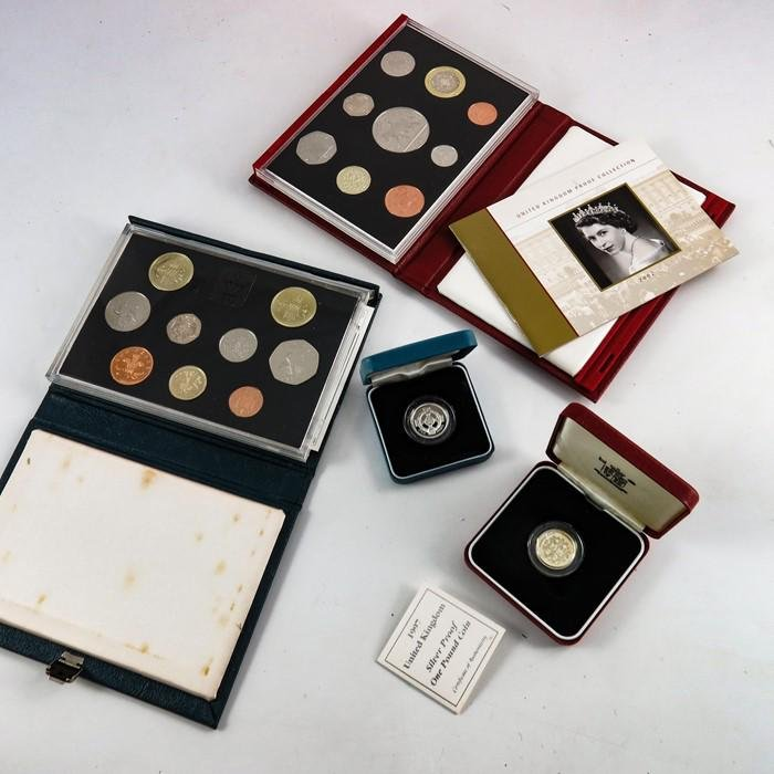 Royal Mint coins and sets, two silver proof one pound