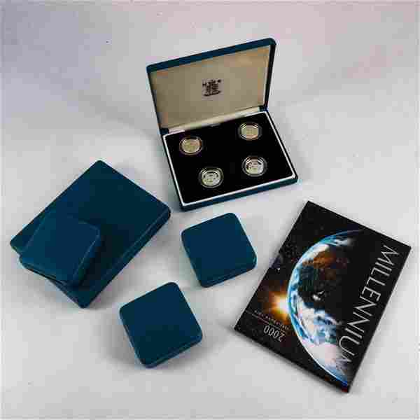 Royal Mint sets, silver proof one pound set 1999-2002,