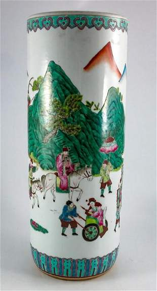 A Chinese famille verte porcelain stick stand the body