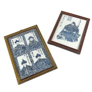 Two Chinese blue and white ceramic plaques painted and