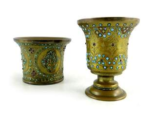 Two Persian gilt brass and jewelled vessels embossed