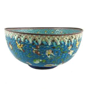 A large Chinese cloisonn enamelled punch bowl