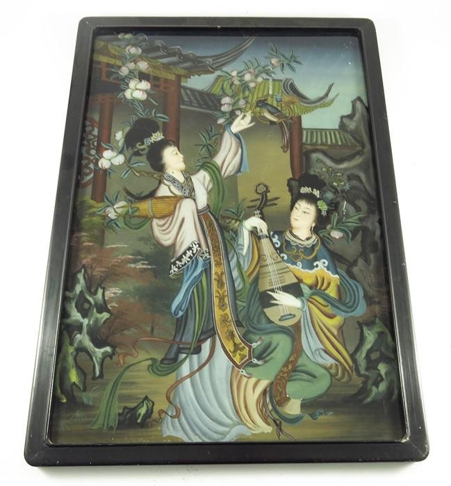 A pair of Chinese reverse painted glass pictures,