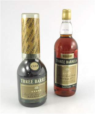 Two bottles of Three Barrels VSOP Rare Old French