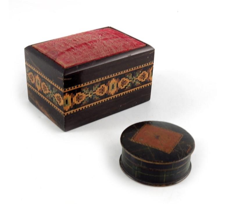 A Tunbridge ware pin cushion and a Tartan Ware patch