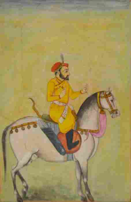 Persian School, Nobleman on Horseback, watercolour,