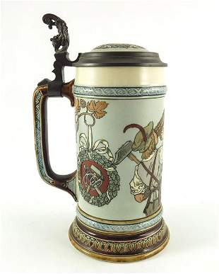 Mettlach, Villeroy and Boch, a litre stein, incised