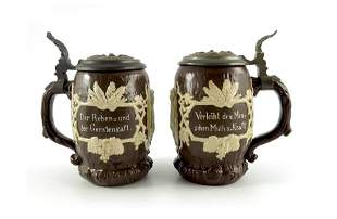 Mettlach, Villeroy and Boch, a pair of half litre