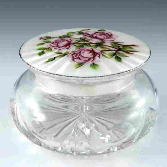 An Elizabeth II silver and enamelled cut glass powder