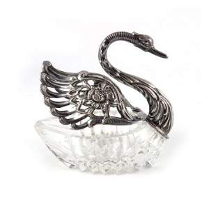 A Continental silver and glass swan bowl E Ltd