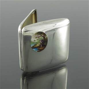 A Swiss silver and enamelled cigarette case Achef