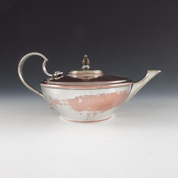 W A S Benson, an Arts and Crafts silver plated teapot,