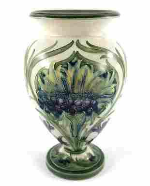 William Moorcroft, a Cornflower on White vase, circa