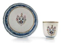 An 18th century Chinese export armorial coffee cup and
