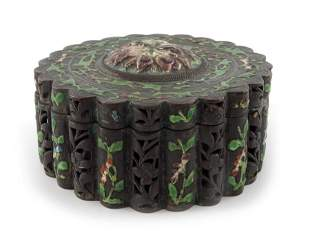 A Chinese enamelled copper jewellery box reeded drum