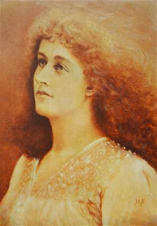 19th or 20th century school portrait of a woman oil