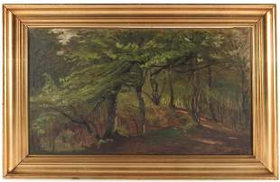 Hans Agersnap 18571925 Woodland Path oil on