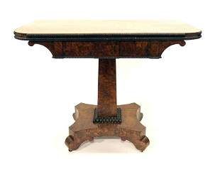A William IV yew wood pedestal fold over card table
