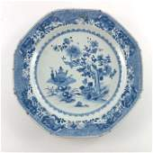 A Chinese export blue and white plate, painted with a