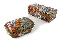 Two Chinese famille rose boxes and covers Cantonese