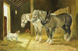 Donna Crawshaw (b.1960), Shire Horses and Terrier, oil