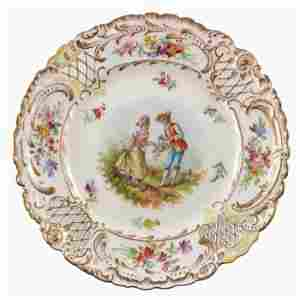 A Dresden cabinet plate, painted with pastoral courting