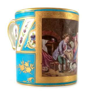 A Sevres style coffee can 19th century painted with a