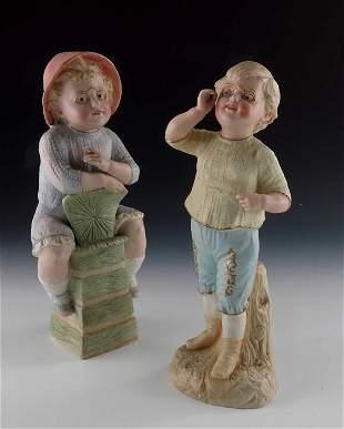 Two Gebruder Heubach bisque figures of children in