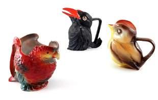 Three Royal Bayreuth porcelain novelty creamer jugs