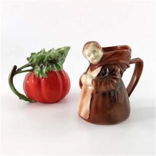 Two Royal Bayreuth porcelain novelty creamer jugs