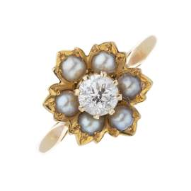An Edwardian 18ct gold old-cut diamond and split pearl