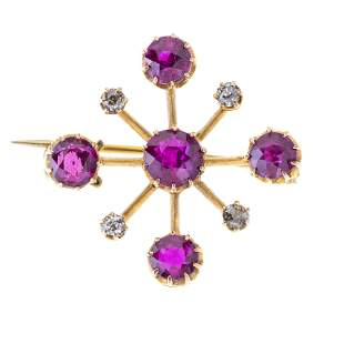 A late Victorian gold, Burmese ruby and old-cut diamond