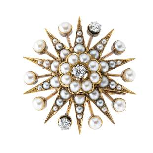 A late Victorian gold, old-cut diamond and split pearl